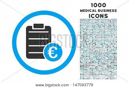 Euro Prices rounded vector bicolor icon with 1000 medical business icons. Set style is flat pictograms, blue and gray colors, white background.