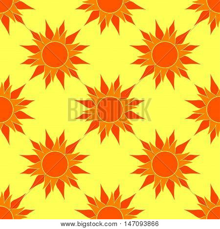 Vector Sunny Orange Seamless Pattern. Orange Sun over yellow background. Pattern for your sunny design. Pattern in swatches panel.