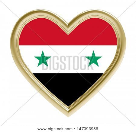 Syrian flag in golden heart isolated on white background. 3D illustration.
