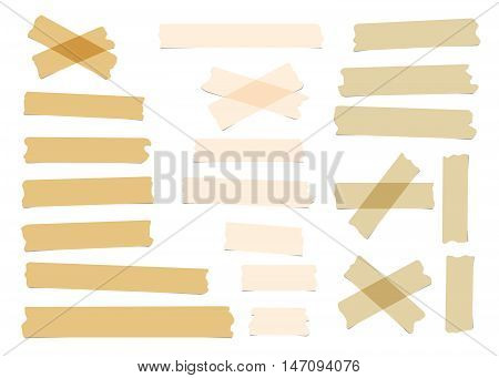 Pieces of different size, color, sticky, adhesive masking tape are on white background.