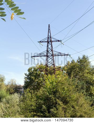 Transmission tower, wires and equipment of special glass