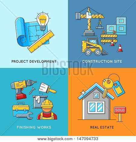 Building concepts. Engineering and construction, finishing works and real estate housing. Construction building architecture and business construction. Vector illustration