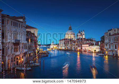 Canal Grande sunset of Accademia's bridge. Venice, Italy. Venetian background.