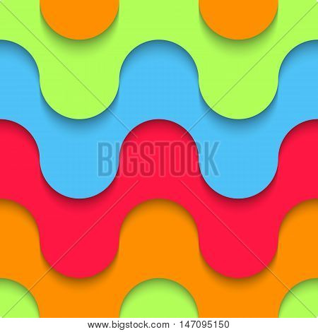 Wavy Seamless Pattern Multilayer Plastic Artificial Material Design Background, The Geometric Shape