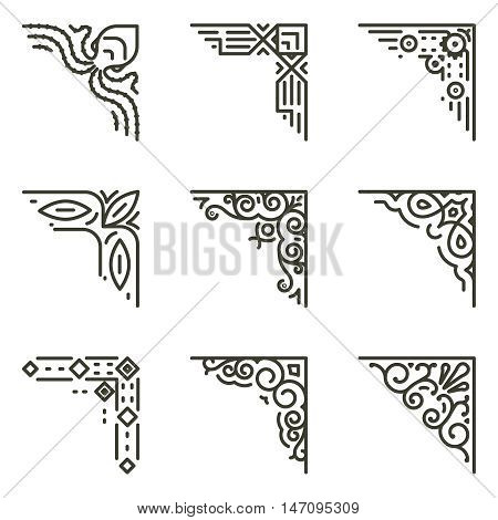 Ornamental linear corners. Vector calligraphic line corners for vintage frames illustration