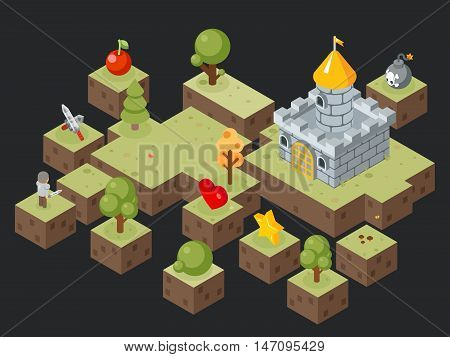 Isometric 3D game play scene vector. Scene for game and illustration isometric landscape for video game