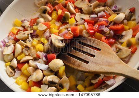 Frying Mixed Vegetables In Ceramic Pan