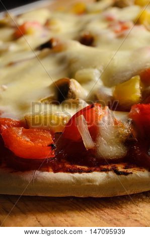 Vegetable And Cheese Pizza Close Up