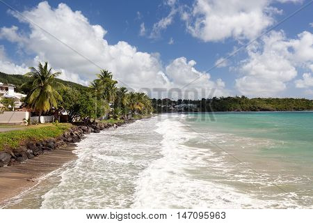 Le Diamant Beach. Beautiful Beach Scene in Martinique French Overseas Department