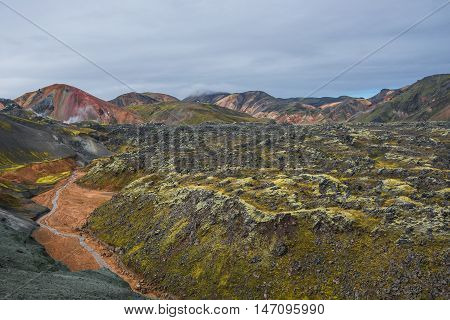 Landmannalaugar Colorful  Mountains In Iceland, Summer Time