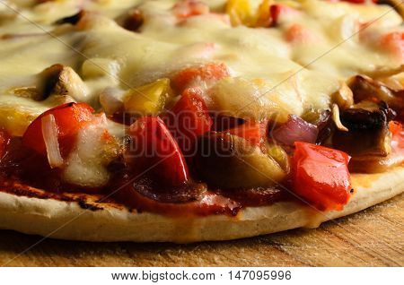 Close Up Of  Cheese Topped Vegetarian Pizza