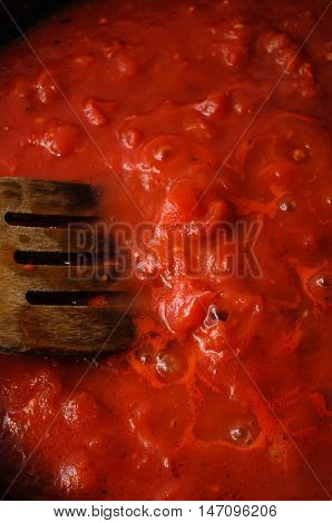 Bubbling Tomato Sauce From Above