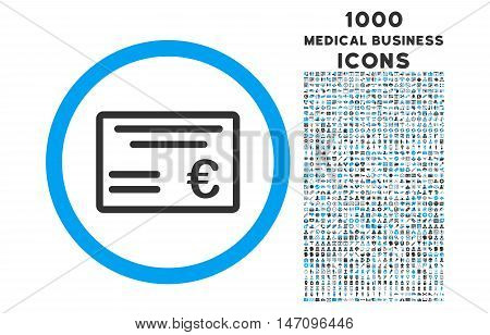 Euro Cheque rounded glyph bicolor icon with 1000 medical business icons. Set style is flat pictograms, blue and gray colors, white background.