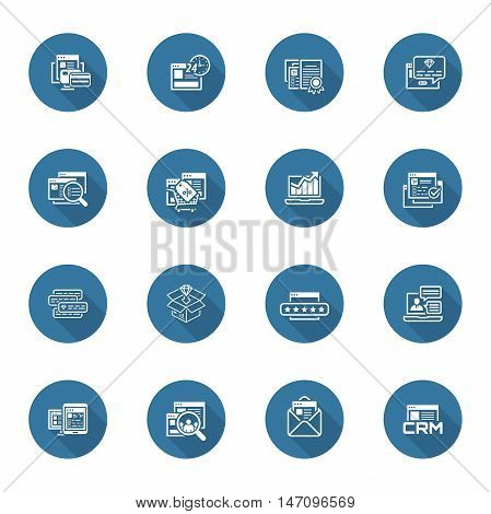 Flat Design Shopping and Marketing Icons Set. Online payment and shopping symbol, discount and one time offer symbol, traffic icon and internet marketing, crm icon and e-mail marketing symbol.