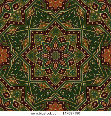 Ethnic green ornament of mandalas. Template for carpet textile blanket shawl. Vector oriental seamless pattern.