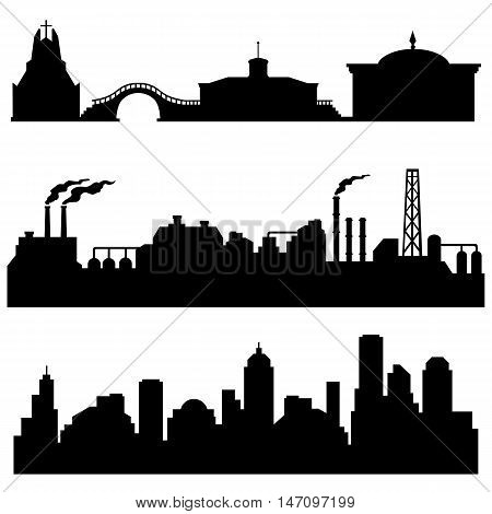 Vector Set Of City Silhouettes - Cultural, Industrial And Urban Buildings