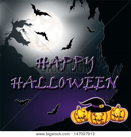 Halloween background with cliffs bats moon and pumpkins. Vector illustration.