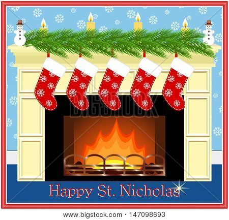 Festive fireplace with red socks candles and fir-tree branches. Happy St. Nicholas. Vector illustration.