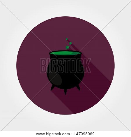 Black witches pot with potion. Halloween. Icon for web and mobile application. Vector illustration on a button with a long shadow. Flat design style.