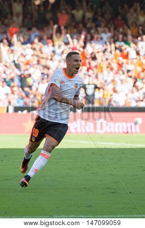 VALENCIA, SPAIN - SEPTEMBER 11th: Rodrigo celebrating a goal during Spanish League match between Valencia CF and Real Betis at Mestalla Stadium on September 11, 2016 in Valencia, Spain