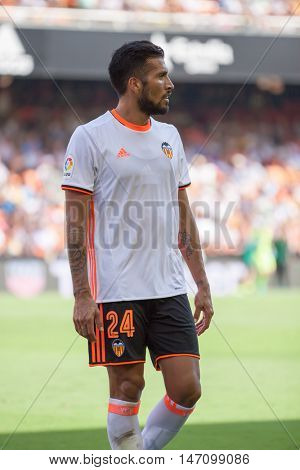 VALENCIA, SPAIN - SEPTEMBER 11th: Garay during Spanish League match between Valencia CF and Real Betis at Mestalla Stadium on September 11, 2016 in Valencia, Spain
