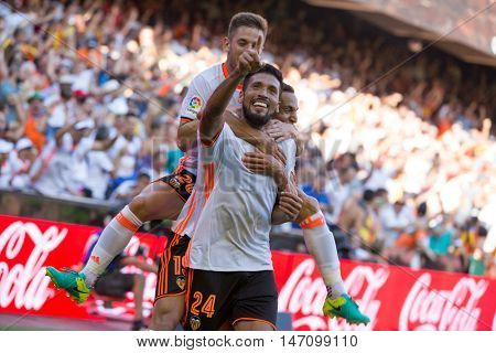 VALENCIA, SPAIN - SEPTEMBER 11th: Garay (24) celebratin a goal during Spanish League match between Valencia CF and Real Betis at Mestalla Stadium on September 11, 2016 in Valencia, Spain