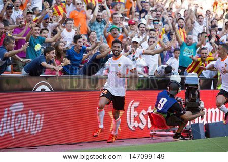 VALENCIA, SPAIN - SEPTEMBER 11th: Garay celebrating his goal during Spanish League match between Valencia CF and Real Betis at Mestalla Stadium on September 11, 2016 in Valencia, Spain