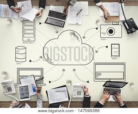 Cloud Transfer Data Connection Network Concept
