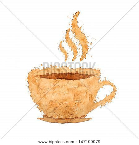symbol in the form of a coffee cup consists of coffee splashes isolated on white background
