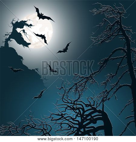 Halloween background with bats moon and trees. Vector illustration.