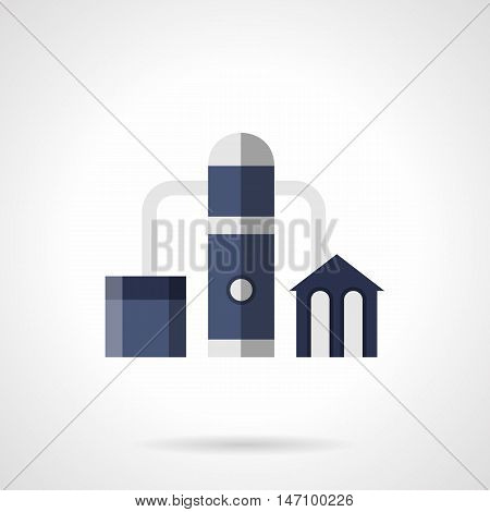 Gas refinery plant. Building complex with pipes, tank and tower. Industrial facilities and architecture. Flat blue style vector icon.