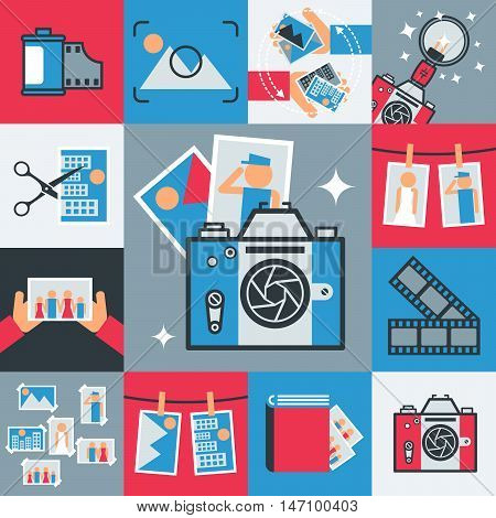 Photography snapshot flat icons set vector illustration