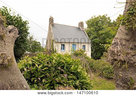 Douarnenez former fisherman's house (dating from the nineteenth century), on the site of Plomarc'h one day of bad weather (Brittany, Finistere, France)