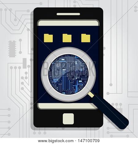 Electronic Circuit Enlarged On Phone