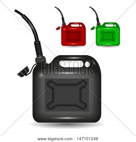Jerrycans of different colors isolated on white background vector illustration.