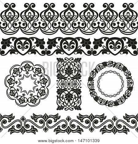 Vector set of Asian seamless tape ribbon round and single patterns in the form of cotton flower in Uzbek national style. Black templates on white background.