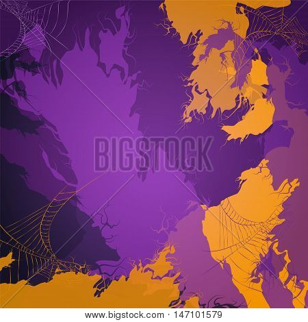 Colorful Halloween background with the spiderwebs. Vector illustration.