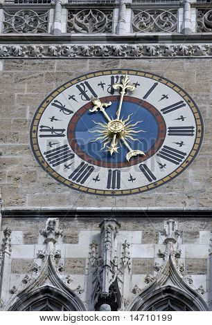 The Clock Of The City Hall At Marienplatz In Munich