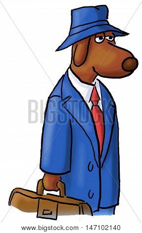 Color, closeup business illustration of a business dog wearing a business suit and hat, carrying a briefcase.