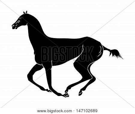 Gallop horse black silhouette on white background vector illustration