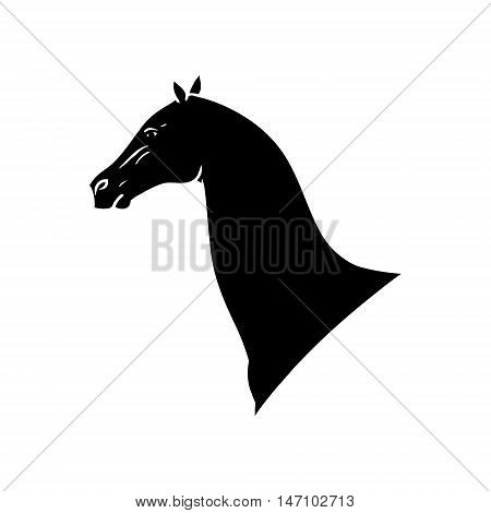 Horse head black silhouette on white background abstract image of a stallion vector illustration