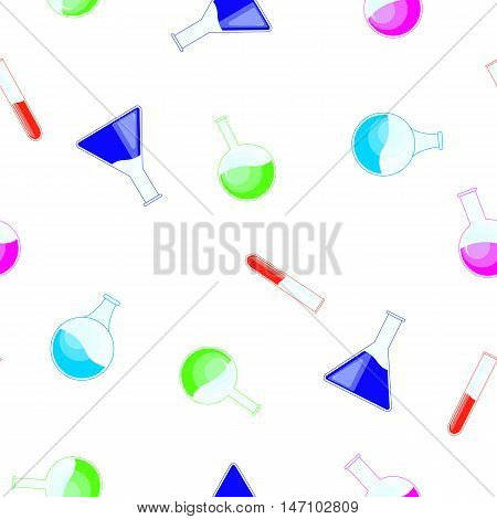 Chemical Flask, Bottles, Potions Seamless Pattern For Halloween