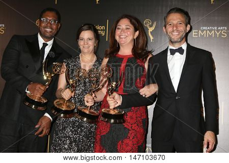 LOS ANGELES - SEP 11: Jayson Jackson, Amy Hobby, Liz Garbus, Justin Wilkes at the 2016 Creative Emmy Awards - Day 2 - Arrivals at the Microsoft Theater on September 11, 2016 in Los Angeles, CA