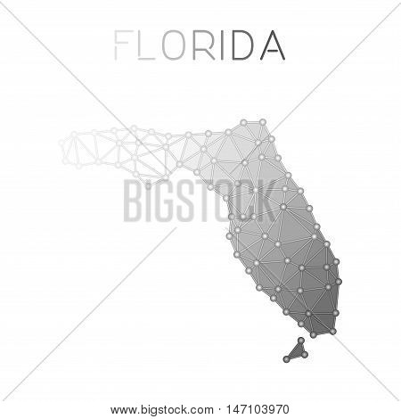 Florida Polygonal Vector Map. Molecular Structure Us State Map Design. Network Connections Polygonal