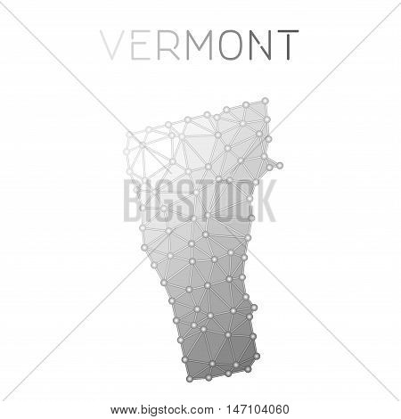 Vermont Polygonal Vector Map. Molecular Structure Us State Map Design. Network Connections Polygonal