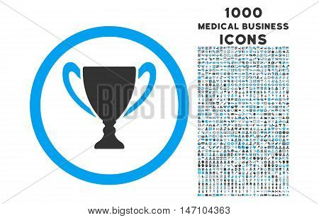 Award Cup rounded glyph bicolor icon with 1000 medical business icons. Set style is flat pictograms, blue and gray colors, white background.