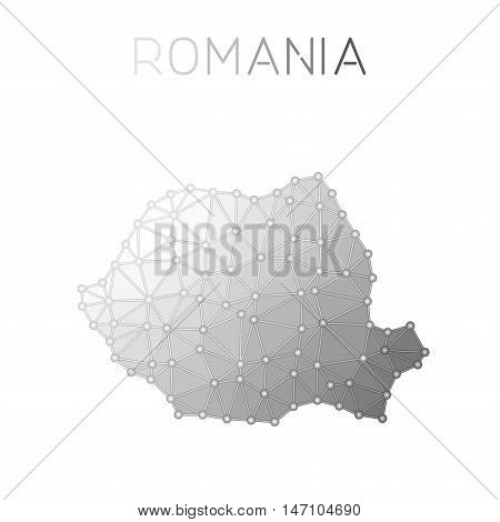 Romania Polygonal Vector Map. Molecular Structure Country Map Design. Network Connections Polygonal
