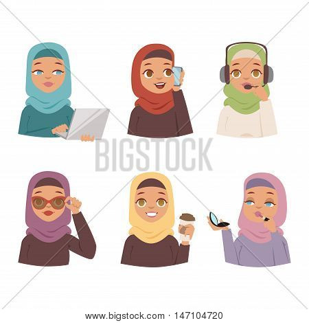 Muslim religious women set traditional islamic adult. Cute cartoon arabic girls traditional dress pretty ethnicity religious people. Business collection arabic women ethnic portrait beautiful hijab.