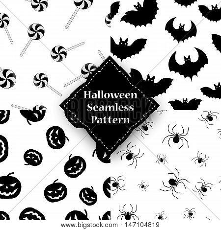 Spider, pumpkin, spider and bat seamless pattern.