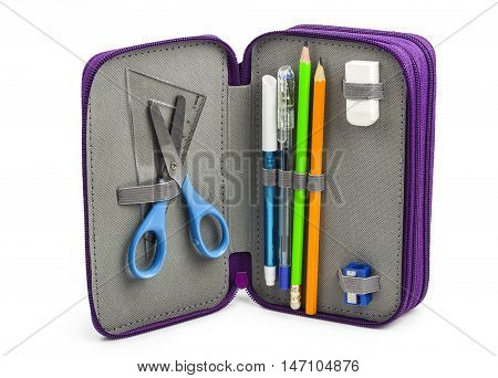 Open Pencil-case with facilities for schools isolated on white